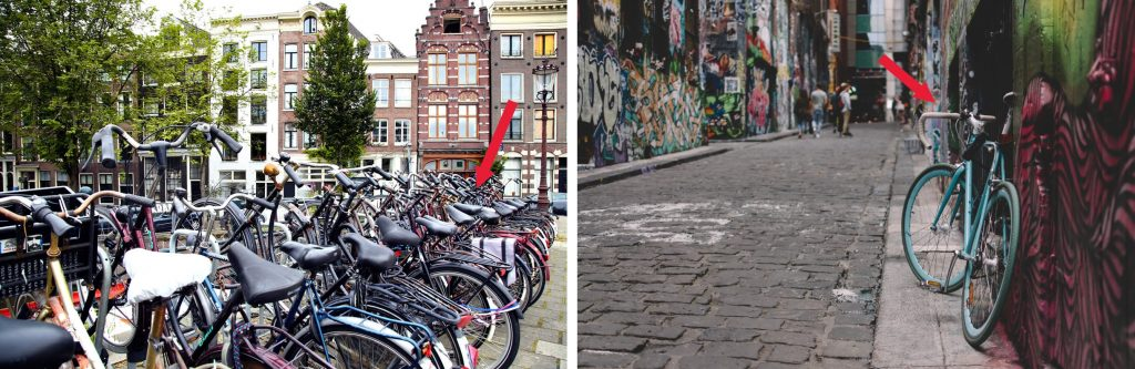 The bike on the left, stored among others on frequented and well-lit place (notice the lamp) is definitely safer than the one on the right – even if they were the very same bikes, locked by the same locks.